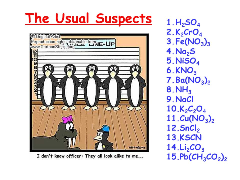 The Usual Suspects 1.H 2 SO 4 2.K 2 CrO 4 3.Fe(NO 3 ) 3 4.Na 2 S 5.NiSO 4 6.KNO 3 7.Ba(NO 3 ) 2 8.NH 3 9.NaCl 10.K 2 C 2 O 4 11.Cu(NO 3 ) 2 12.SnCl 2