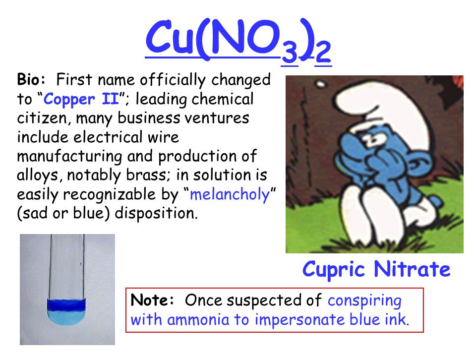 "Cu(NO 3 ) 2 Cupric Nitrate Bio: First name officially changed to ""Copper II""; leading chemical citizen, many business ventures include electrical wire"