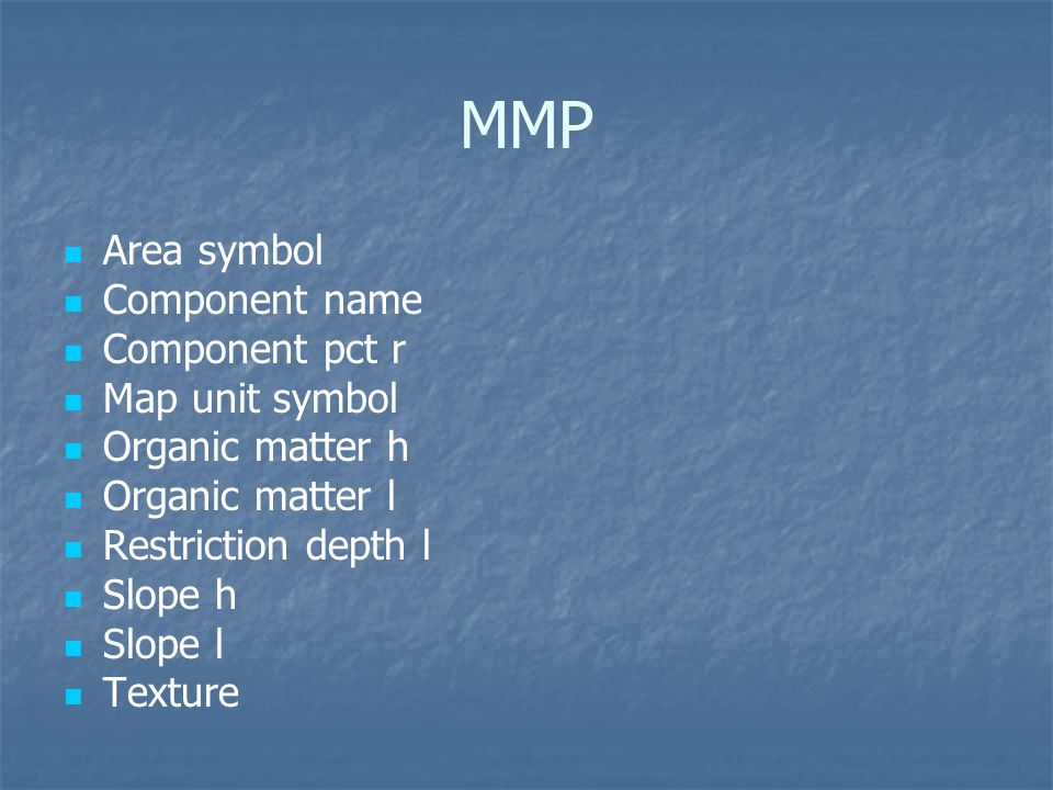 MMP Area symbol Component name Component pct r Map unit symbol Organic matter h Organic matter l Restriction depth l Slope h Slope l Texture