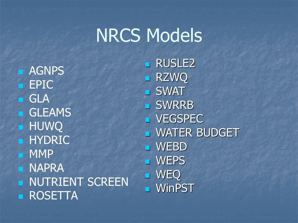 NRCS Models AGNPS EPIC GLA GLEAMS HUWQ HYDRIC MMP NAPRA NUTRIENT SCREEN ROSETTA RUSLE2 RUSLE2 RZWQ RZWQ SWAT SWAT SWRRB SWRRB VEGSPEC VEGSPEC WATER BUDGET WATER BUDGET WEBD WEBD WEPS WEPS WEQ WEQ WinPST WinPST