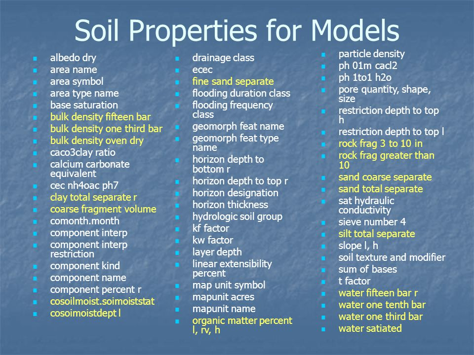 Soil Properties for Models albedo dry area name area symbol area type name base saturation bulk density fifteen bar bulk density one third bar bulk density oven dry caco3clay ratio calcium carbonate equivalent cec nh4oac ph7 clay total separate r coarse fragment volume comonth.month component interp component interp restriction component kind component name component percent r cosoilmoist.soimoiststat cosoimoistdept l drainage class ecec fine sand separate flooding duration class flooding frequency class geomorph feat name geomorph feat type name horizon depth to bottom r horizon depth to top r horizon designation horizon thickness hydrologic soil group kf factor kw factor layer depth linear extensibility percent map unit symbol mapunit acres mapunit name organic matter percent l, rv, h particle density ph 01m cacl2 ph 1to1 h2o pore quantity, shape, size restriction depth to top h restriction depth to top l rock frag 3 to 10 in rock frag greater than 10 sand coarse separate sand total separate sat hydraulic conductivity sieve number 4 silt total separate slope l, h soil texture and modifier sum of bases t factor water fifteen bar r water one tenth bar water one third bar water satiated