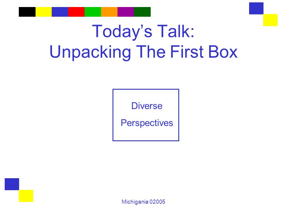 Michigania 02005 Today's Talk: Unpacking The First Box Diverse Perspectives