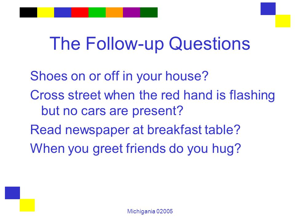 Michigania 02005 The Follow-up Questions Shoes on or off in your house.