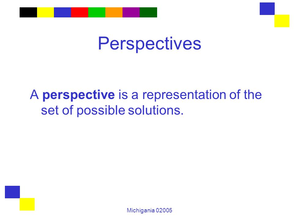 Michigania 02005 Perspectives A perspective is a representation of the set of possible solutions.