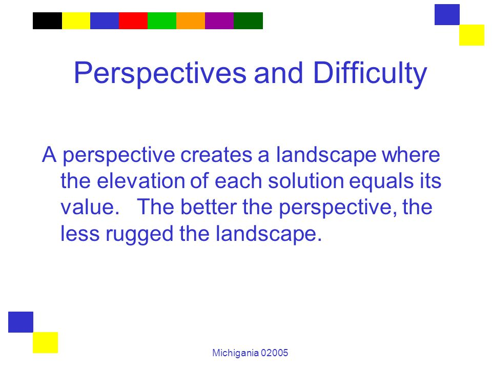Michigania 02005 Perspectives and Difficulty A perspective creates a landscape where the elevation of each solution equals its value. The better the p