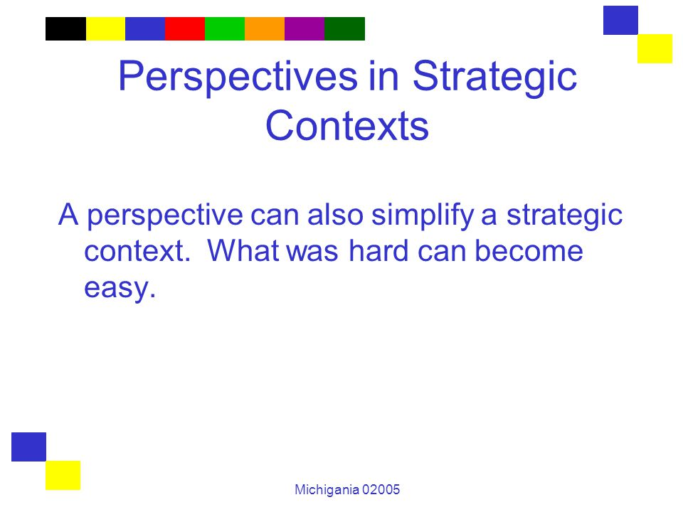 Michigania 02005 Perspectives in Strategic Contexts A perspective can also simplify a strategic context. What was hard can become easy.