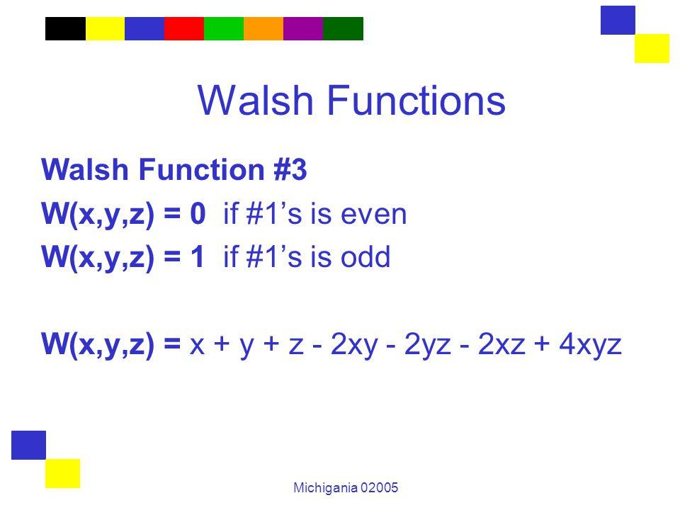 Michigania 02005 Walsh Functions Walsh Function #3 W(x,y,z) = 0 if #1's is even W(x,y,z) = 1 if #1's is odd W(x,y,z) = x + y + z - 2xy - 2yz - 2xz + 4