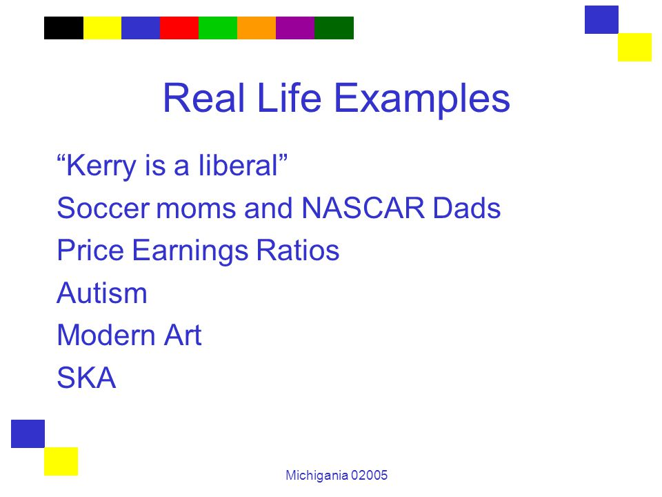 Michigania 02005 Real Life Examples Kerry is a liberal Soccer moms and NASCAR Dads Price Earnings Ratios Autism Modern Art SKA