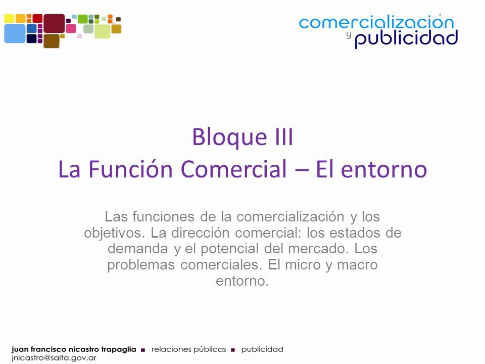 Bloque III La Función Comercial – El entorno Las funciones de la comercialización y los objetivos. La dirección comercial: los estados de demanda y el