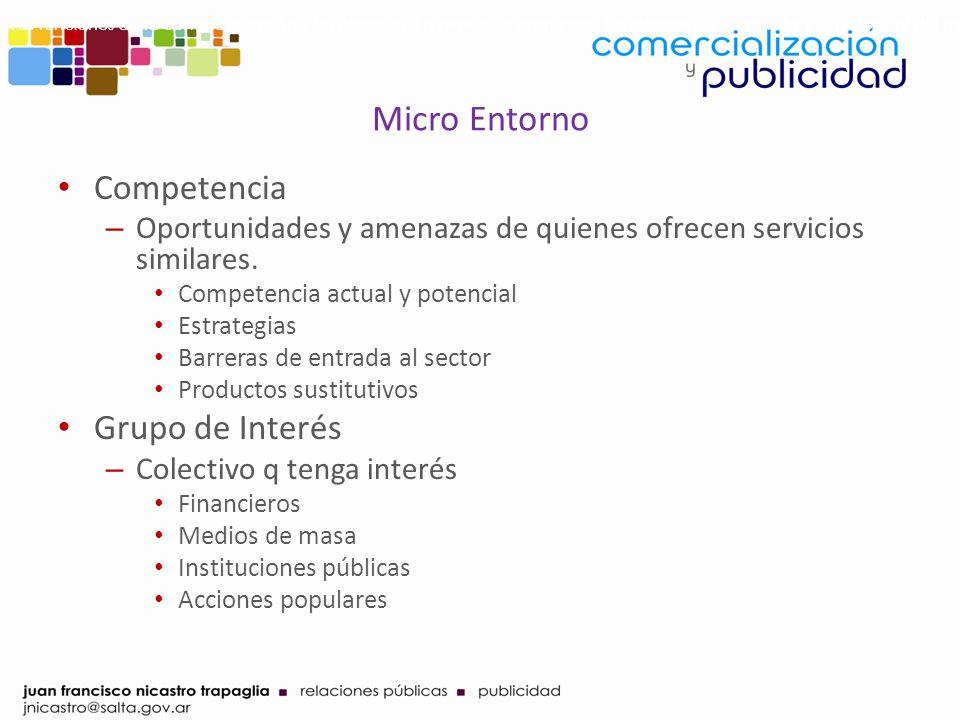 Micro Entorno Competencia – Oportunidades y amenazas de quienes ofrecen servicios similares. Competencia actual y potencial Estrategias Barreras de en