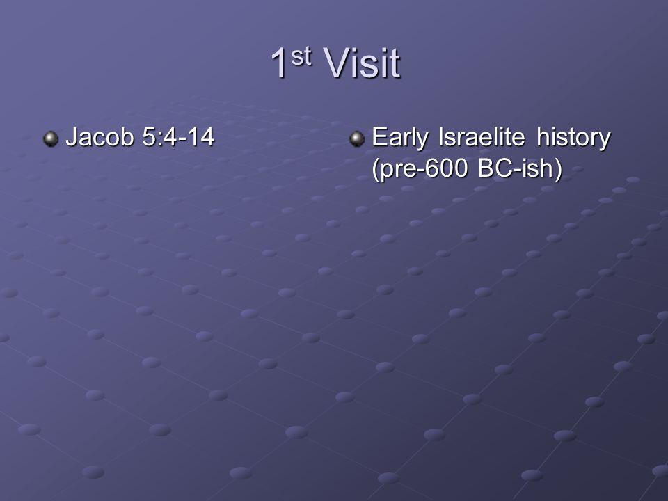 1 st Visit Jacob 5:4-14 Early Israelite history (pre-600 BC-ish)