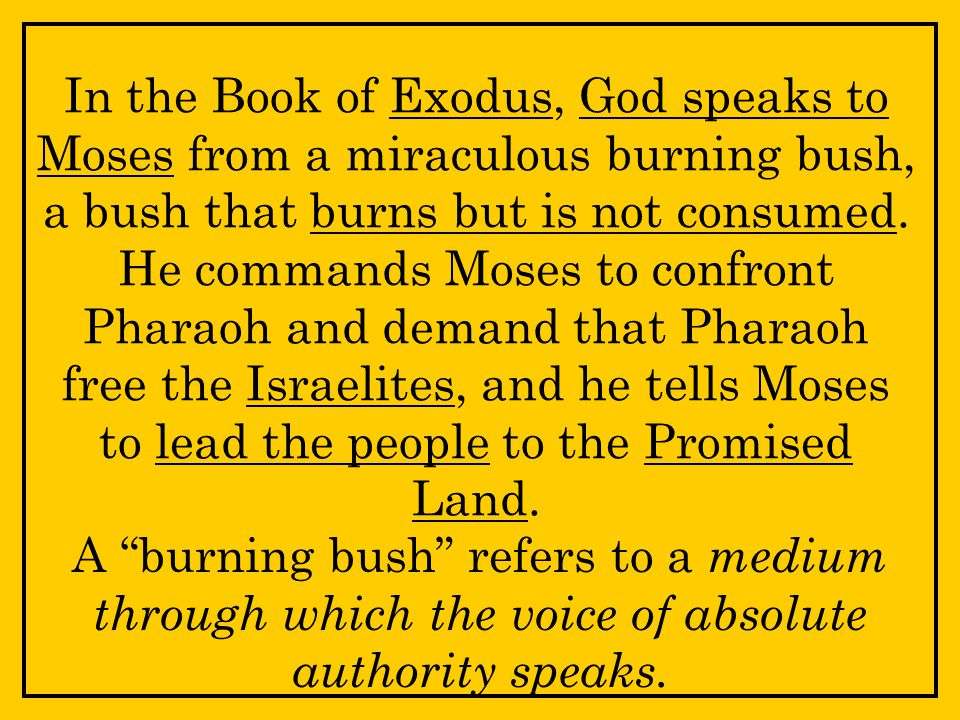 In the Book of Exodus, God speaks to Moses from a miraculous burning bush, a bush that burns but is not consumed.