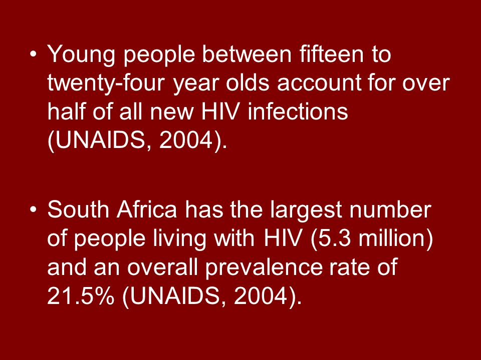 Young people between fifteen to twenty-four year olds account for over half of all new HIV infections (UNAIDS, 2004).