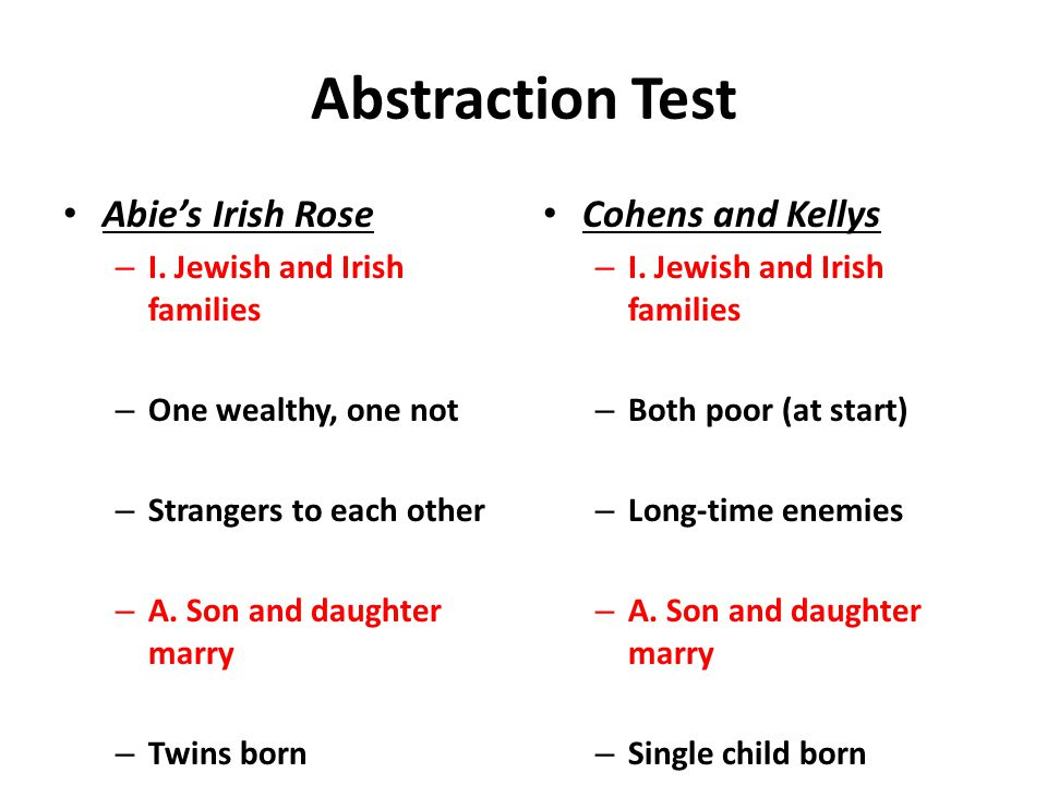 Abstraction Test Abie's Irish Rose – I. Jewish and Irish families – One wealthy, one not – Strangers to each other – A. Son and daughter marry – Twins