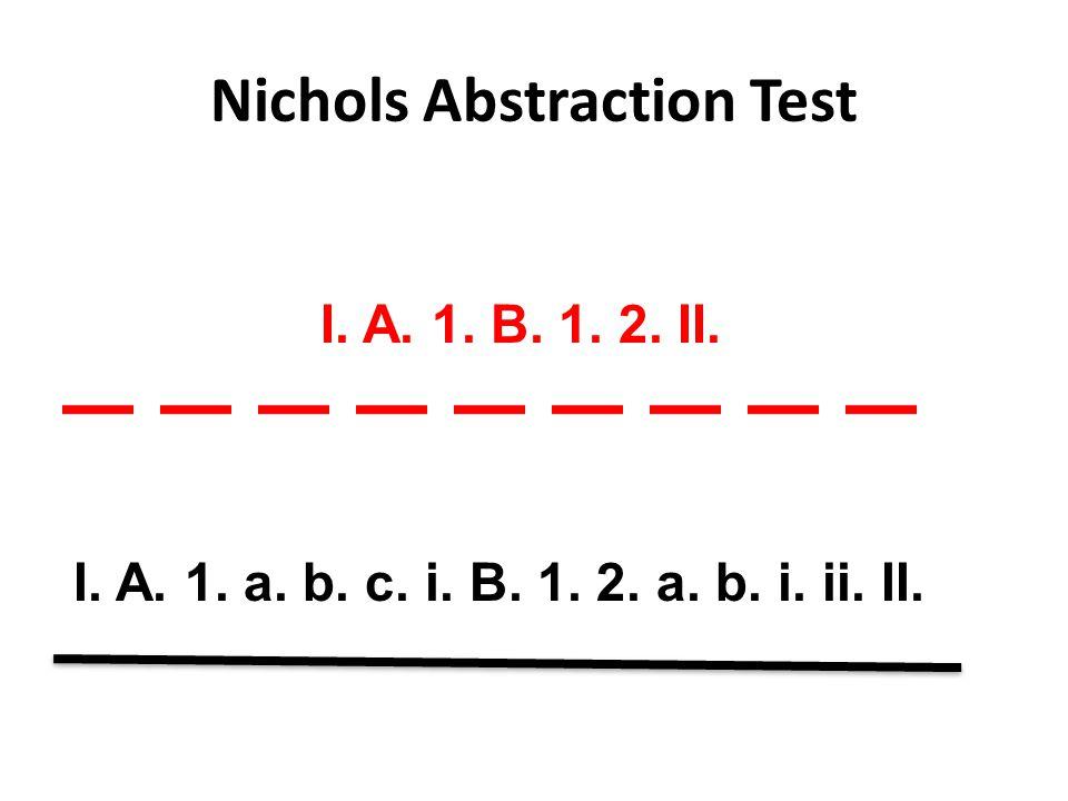 Nichols Abstraction Test I. A. 1. a. b. c. i. B. 1. 2. a. b. i. ii. II. I. A. 1. B. 1. 2. II.
