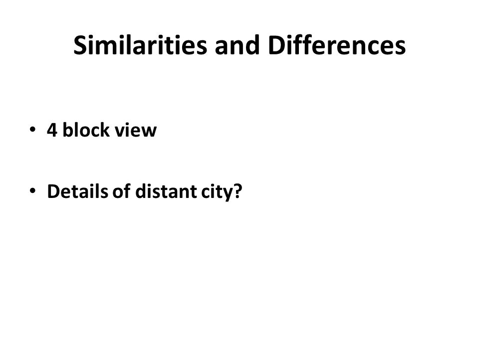 Similarities and Differences 4 block view Details of distant city?