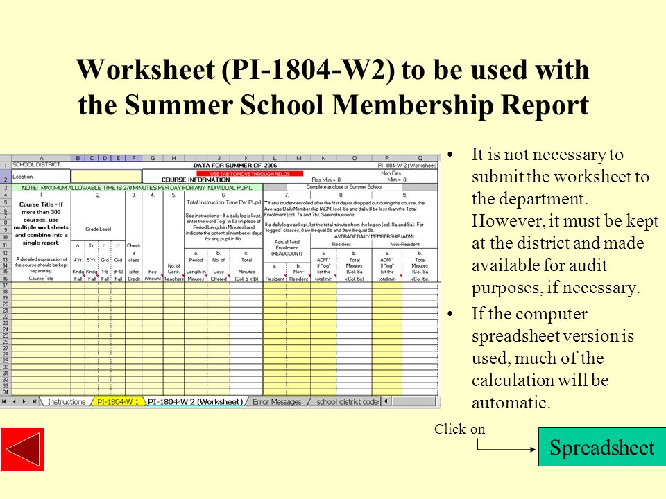 Worksheet (PI-1804-W2) to be used with the Summer School Membership Report It is not necessary to submit the worksheet to the department.