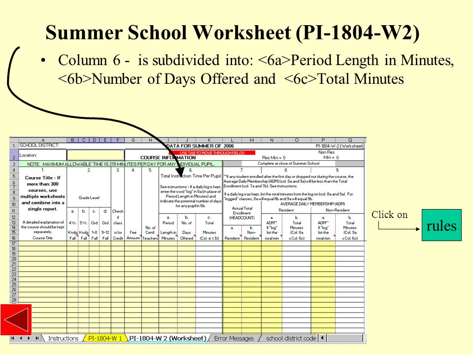 Summer School Worksheet (PI-1804-W2) Column 6 - is subdivided into: Period Length in Minutes, Number of Days Offered and Total Minutes rules Click on