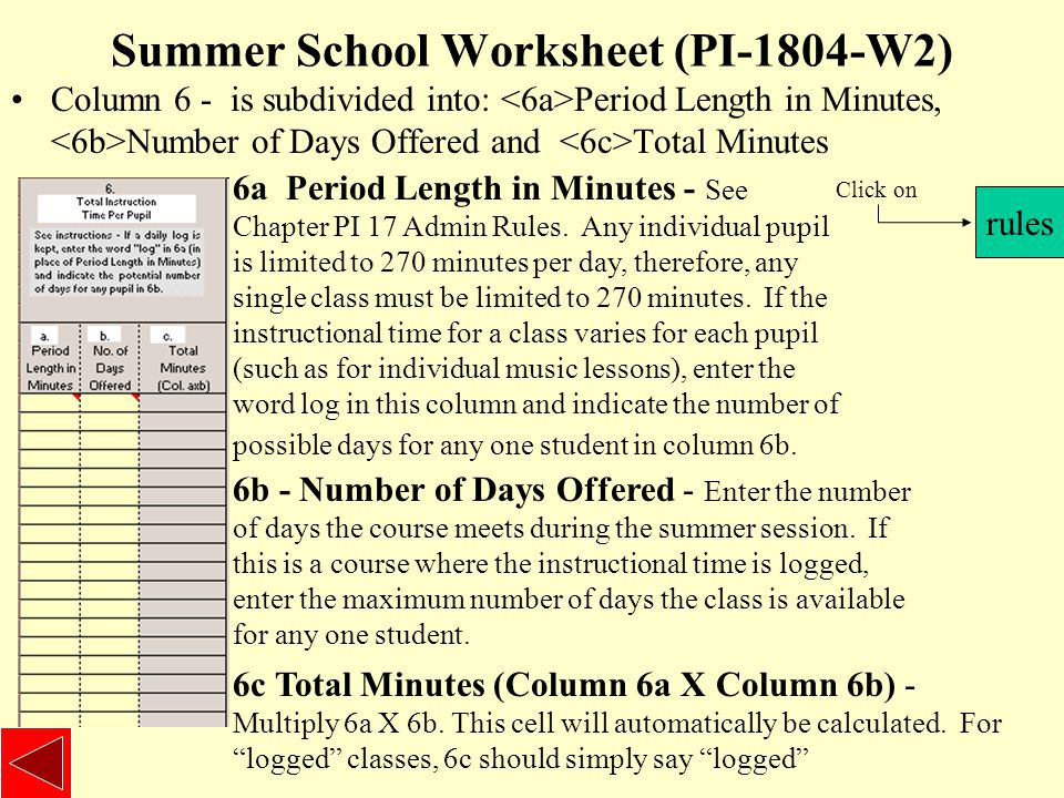Summer School Worksheet (PI-1804-W2) Column 6 - is subdivided into: Period Length in Minutes, Number of Days Offered and Total Minutes rules Click on 6a Period Length in Minutes - See Chapter PI 17 Admin Rules.