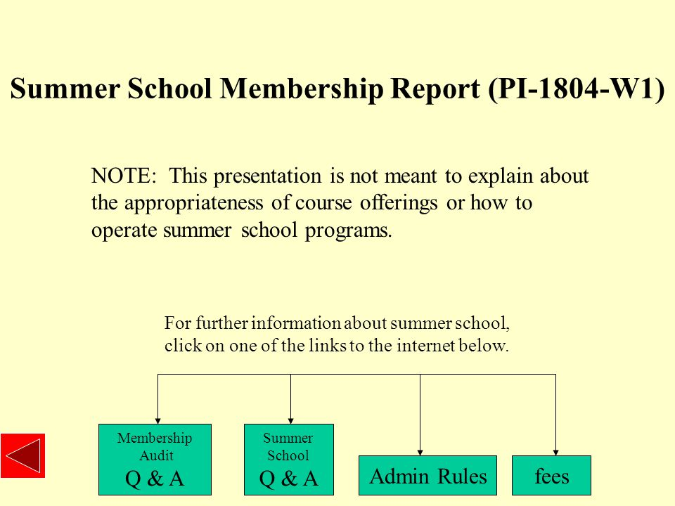 Summer School Membership Report (PI-1804-W1) NOTE: This presentation is not meant to explain about the appropriateness of course offerings or how to operate summer school programs.