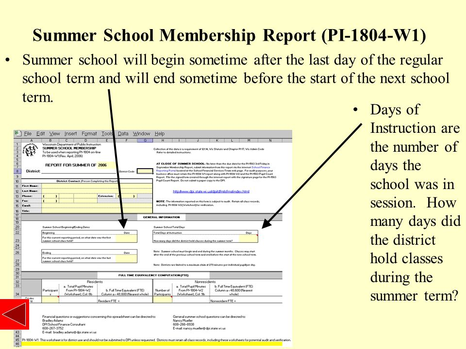 Summer School Worksheet (PI-1804-W2) Columns 1 through 6 are normally completed before summer school is completed.