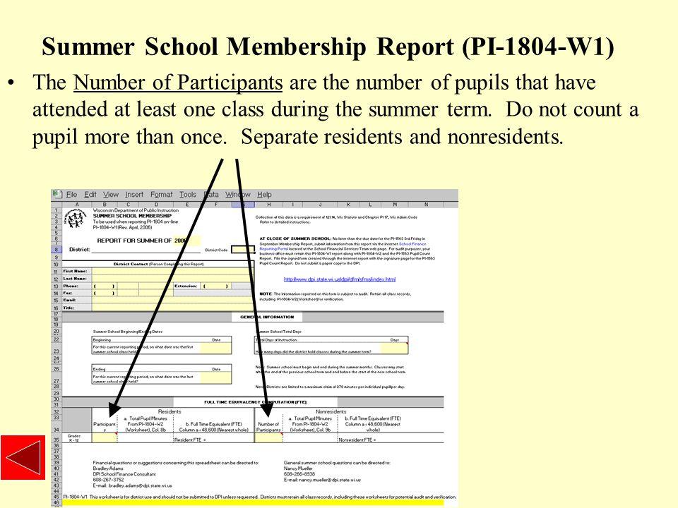 Summer School Worksheet (PI-1804-W2) Column 2 is the grade level.