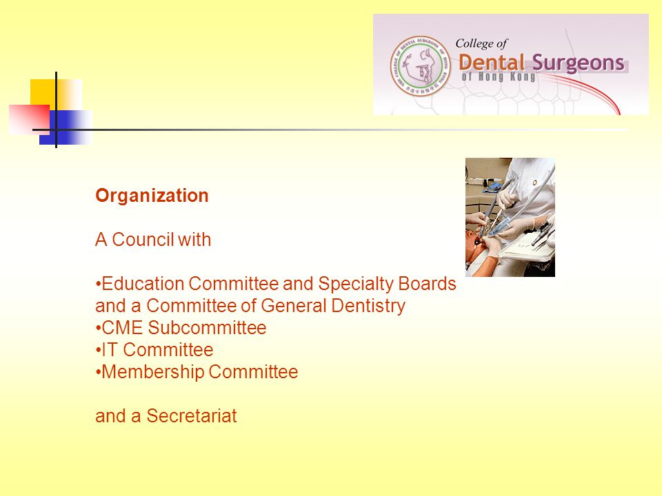 Organization A Council with Education Committee and Specialty Boards and a Committee of General Dentistry CME Subcommittee IT Committee Membership Committee and a Secretariat