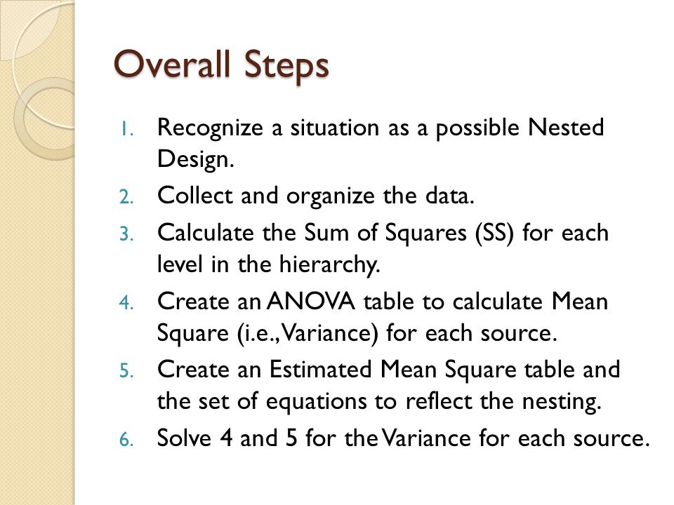 Overall Steps 1.Recognize a situation as a possible Nested Design.