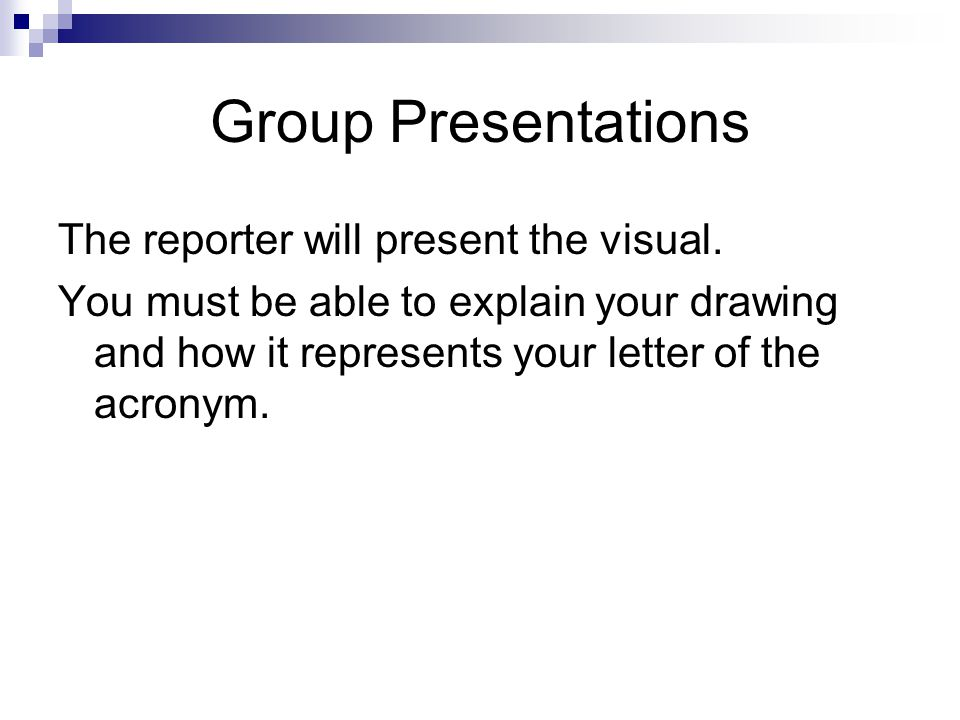 Group Presentations The reporter will present the visual.