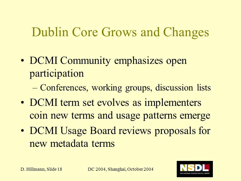 DC 2004, Shanghai, October 2004D. Hillmann, Slide 18 Dublin Core Grows and Changes DCMI Community emphasizes open participation –Conferences, working