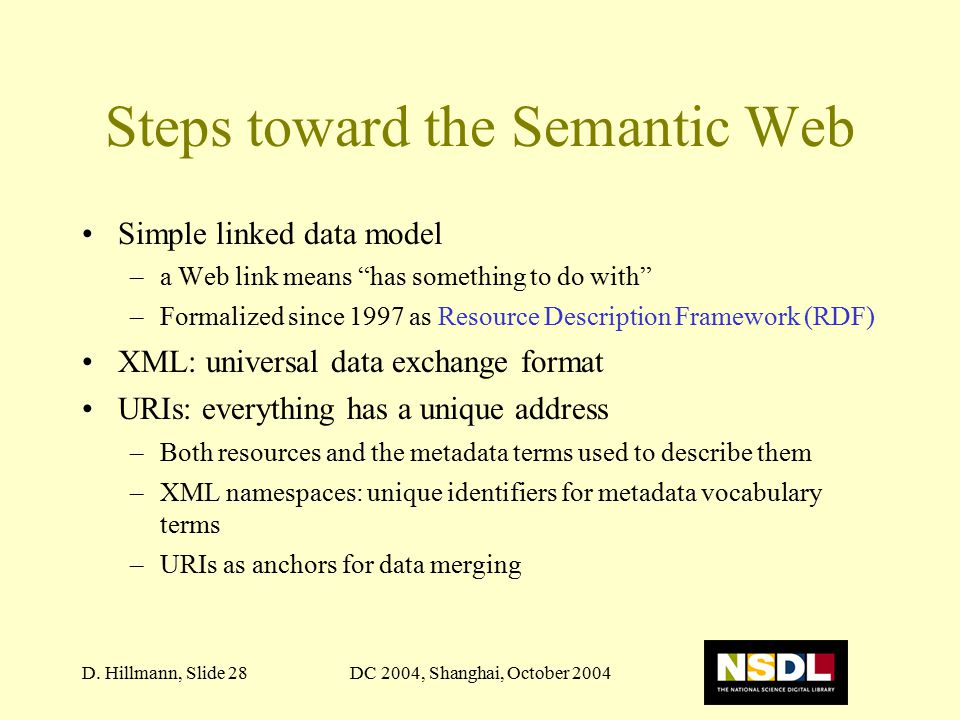 """DC 2004, Shanghai, October 2004D. Hillmann, Slide 28 Steps toward the Semantic Web Simple linked data model –a Web link means """"has something to do wit"""