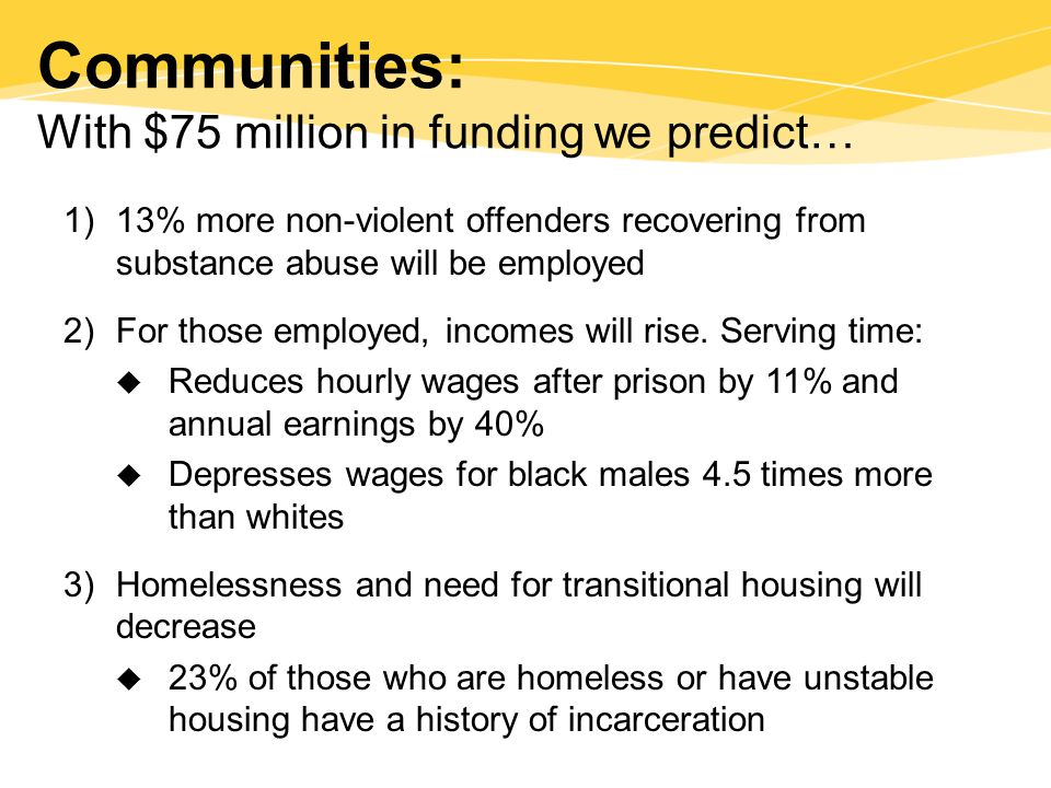 Communities: With $75 million in funding we predict… 1)13% more non-violent offenders recovering from substance abuse will be employed 2)For those employed, incomes will rise.