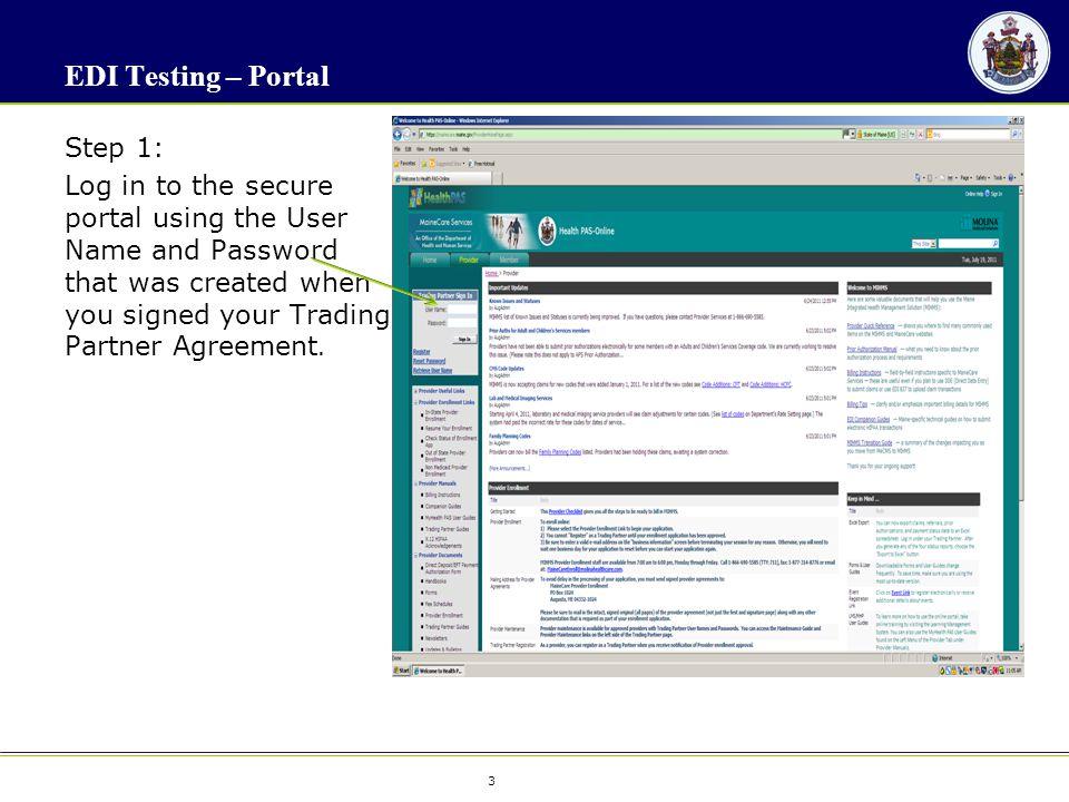 4 4 EDI Testing - Portal Step 2: Select File Exchange