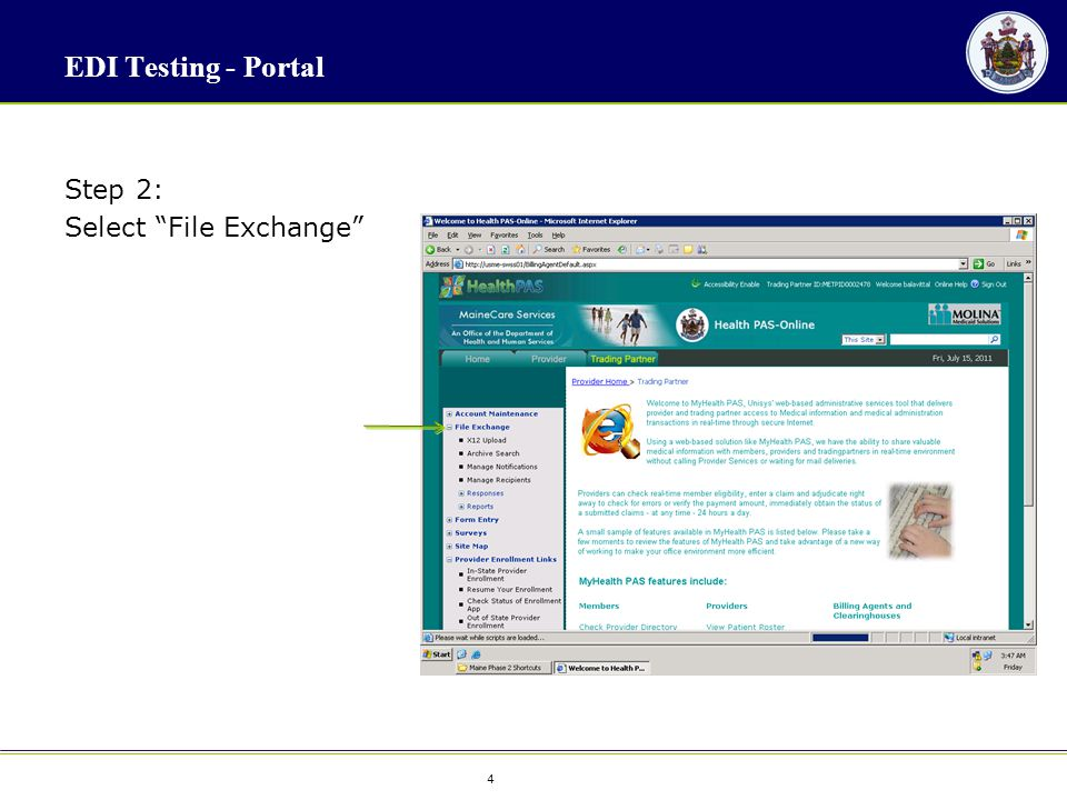 "4 4 EDI Testing - Portal Step 2: Select ""File Exchange"""