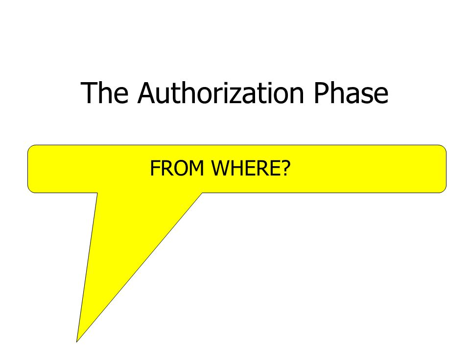 The Authorization Phase FROM WHERE?