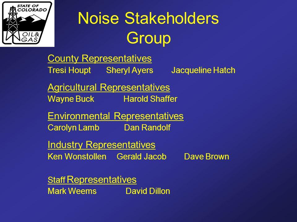 Noise Stakeholders Group County Representatives Tresi Houpt Sheryl Ayers Jacqueline Hatch Agricultural Representatives Wayne Buck Harold Shaffer Envir