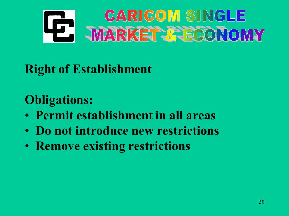 28 Right of Establishment Obligations: Permit establishment in all areas Do not introduce new restrictions Remove existing restrictions