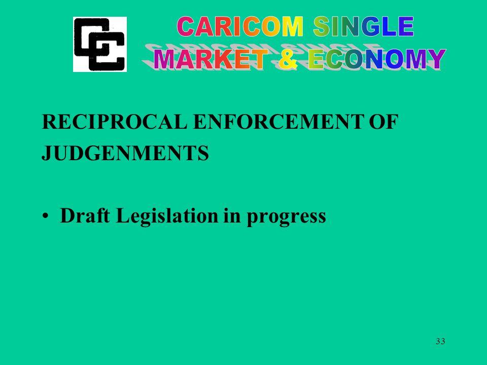33 RECIPROCAL ENFORCEMENT OF JUDGENMENTS Draft Legislation in progress