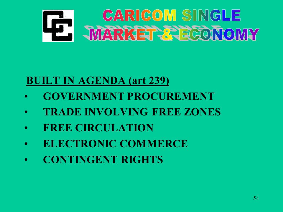 54 BUILT IN AGENDA (art 239) GOVERNMENT PROCUREMENT TRADE INVOLVING FREE ZONES FREE CIRCULATION ELECTRONIC COMMERCE CONTINGENT RIGHTS