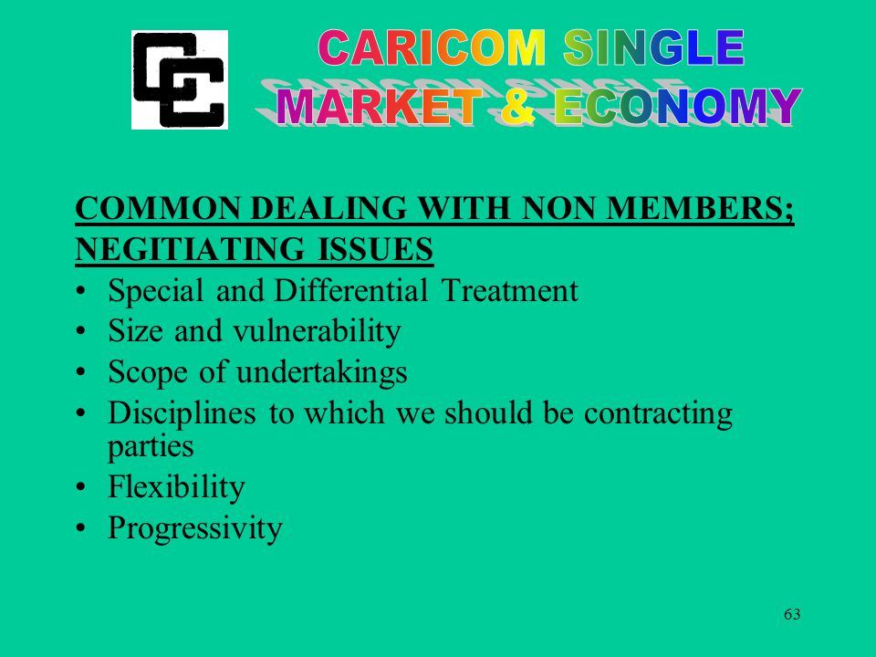 63 COMMON DEALING WITH NON MEMBERS; NEGITIATING ISSUES Special and Differential Treatment Size and vulnerability Scope of undertakings Disciplines to which we should be contracting parties Flexibility Progressivity