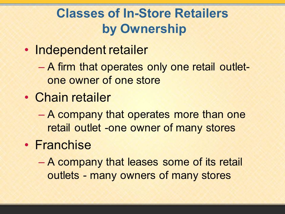 Classes of In-Store Retailers by Ownership Independent retailer –A firm that operates only one retail outlet- one owner of one store Chain retailer –A company that operates more than one retail outlet -one owner of many stores Franchise –A company that leases some of its retail outlets - many owners of many stores