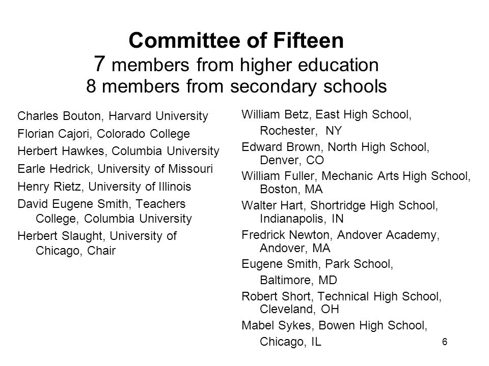 6 Committee of Fifteen 7 members from higher education 8 members from secondary schools Charles Bouton, Harvard University Florian Cajori, Colorado College Herbert Hawkes, Columbia University Earle Hedrick, University of Missouri Henry Rietz, University of Illinois David Eugene Smith, Teachers College, Columbia University Herbert Slaught, University of Chicago, Chair William Betz, East High School, Rochester, NY Edward Brown, North High School, Denver, CO William Fuller, Mechanic Arts High School, Boston, MA Walter Hart, Shortridge High School, Indianapolis, IN Fredrick Newton, Andover Academy, Andover, MA Eugene Smith, Park School, Baltimore, MD Robert Short, Technical High School, Cleveland, OH Mabel Sykes, Bowen High School, Chicago, IL