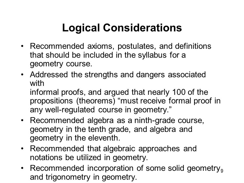 9 Logical Considerations Recommended axioms, postulates, and definitions that should be included in the syllabus for a geometry course.