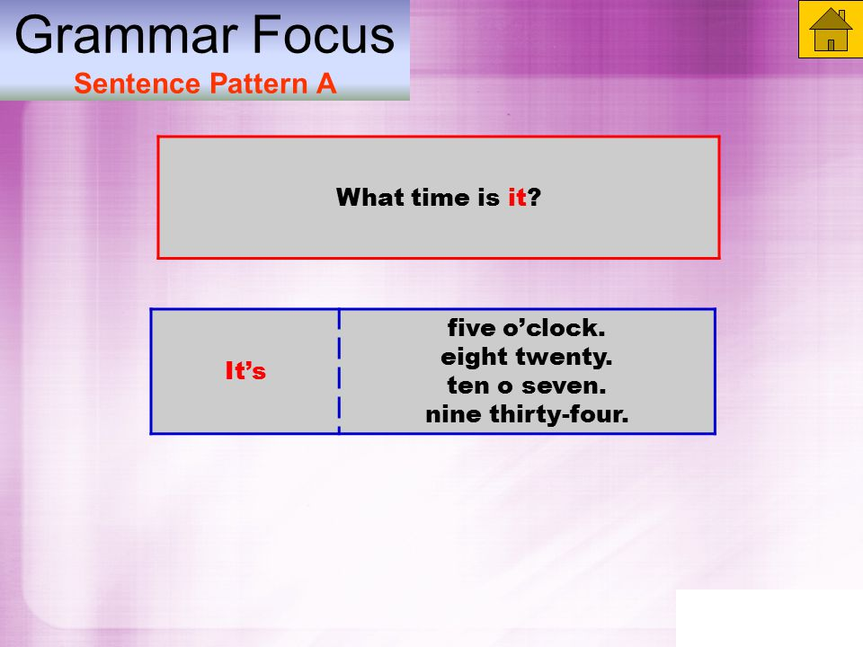 Grammar Focus Sentence Pattern A What time is it. It's five o'clock.