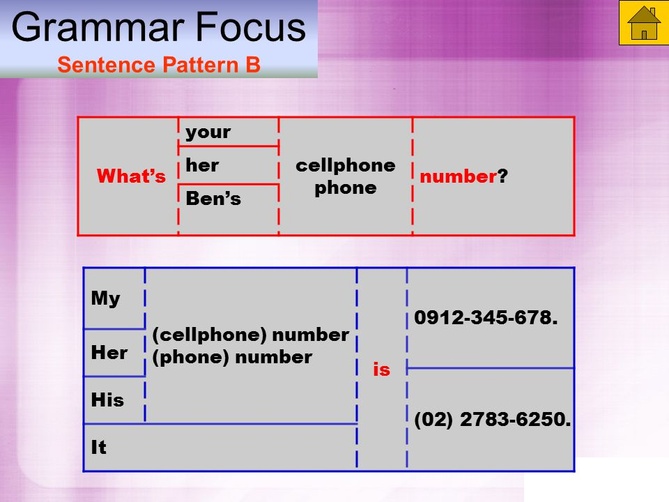 Grammar Focus Sentence Pattern B What's your cellphone phone number.