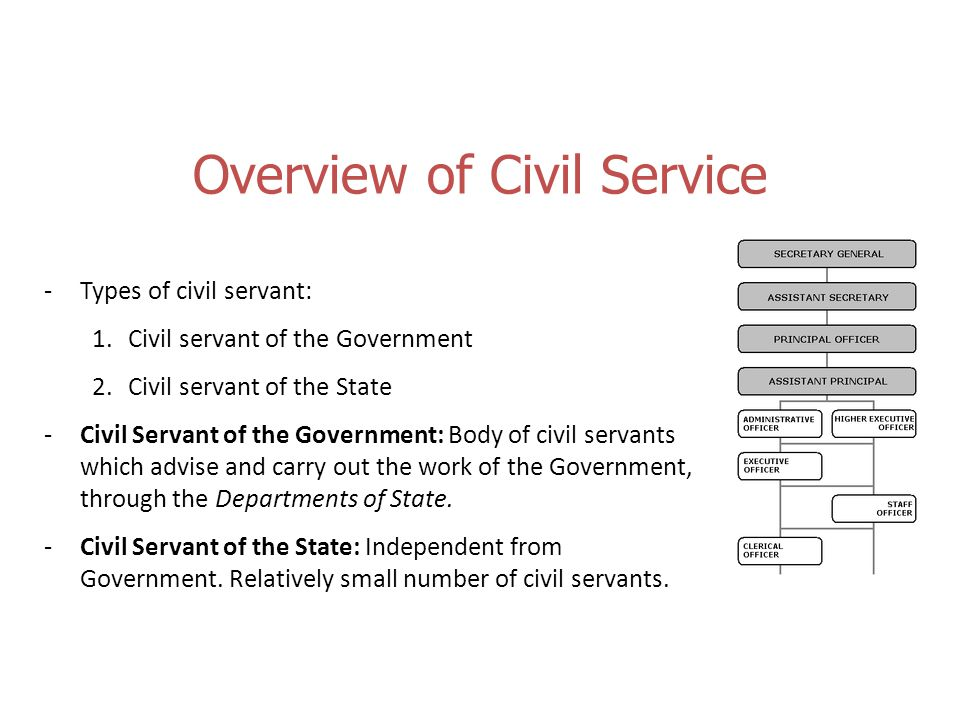 Overview of Civil Service -Types of civil servant: 1.Civil servant of the Government 2.Civil servant of the State -Civil Servant of the Government: Body of civil servants which advise and carry out the work of the Government, through the Departments of State.