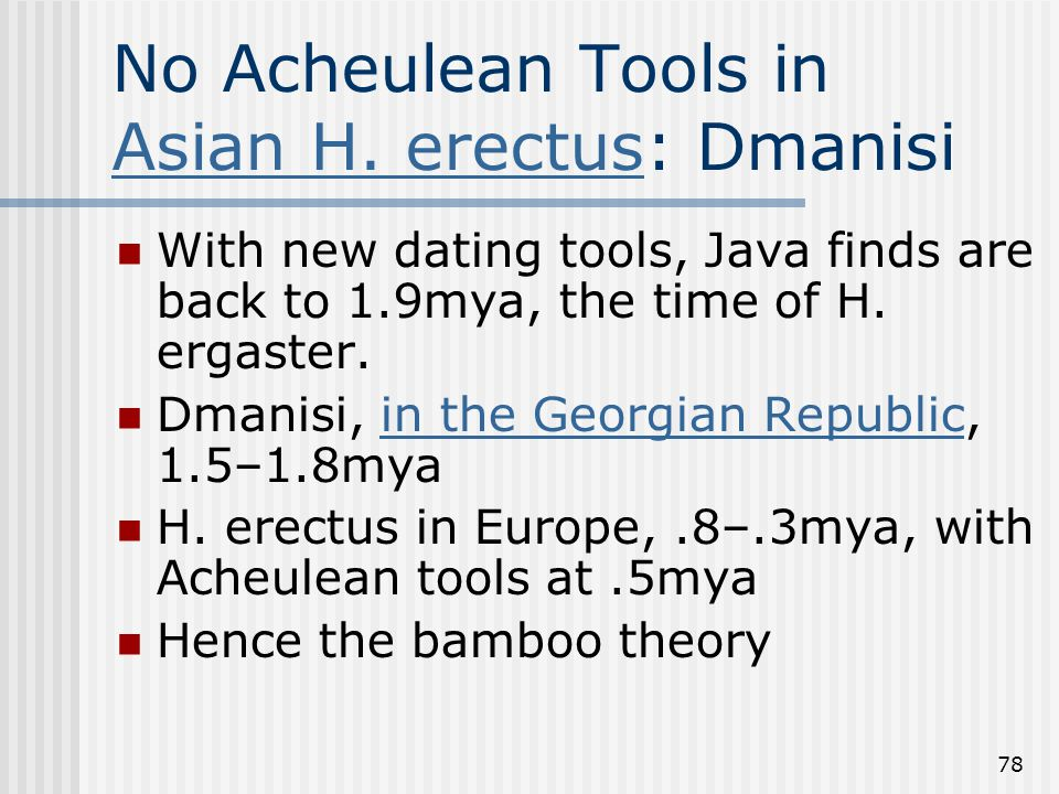 78 No Acheulean Tools in Asian H. erectus: Dmanisi Asian H. erectus With new dating tools, Java finds are back to 1.9mya, the time of H. ergaster. Dma