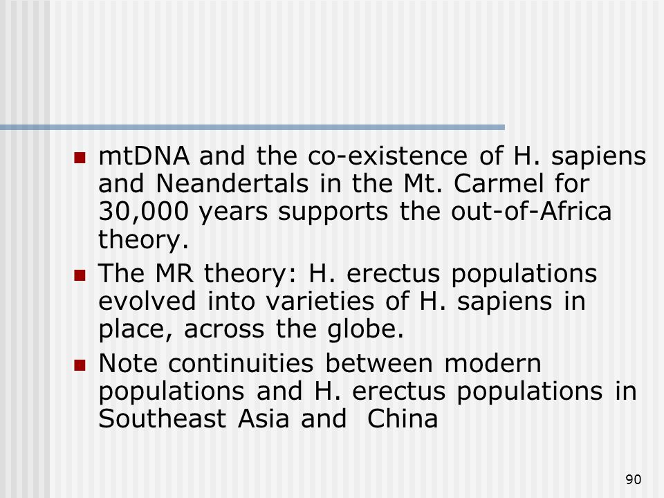 90 mtDNA and the co-existence of H. sapiens and Neandertals in the Mt. Carmel for 30,000 years supports the out-of-Africa theory. The MR theory: H. er