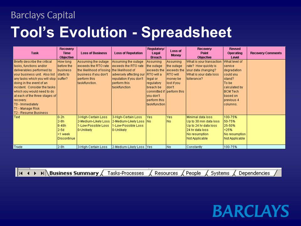 Tool's Evolution - Spreadsheet
