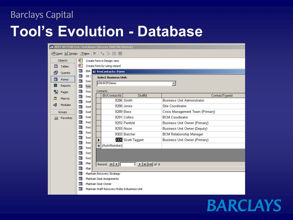 Tool's Evolution - Database